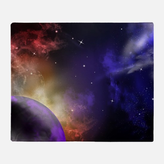 Universe with Planet and Stars Throw Blanket