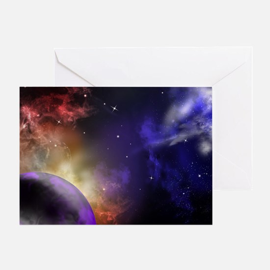 Universe with Planet and Stars Greeting Card