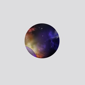 Universe with Planet and Stars Mini Button