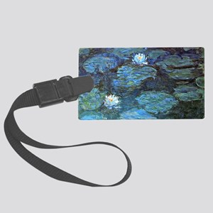 Claude Monet's Water Lilies - Bl Large Luggage Tag