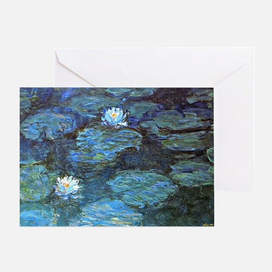 Claude Monet's Water Lilies - Blue Greeting Card