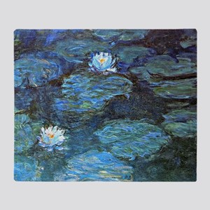 Claude Monet's Water Lilies - Blue Throw Blanket