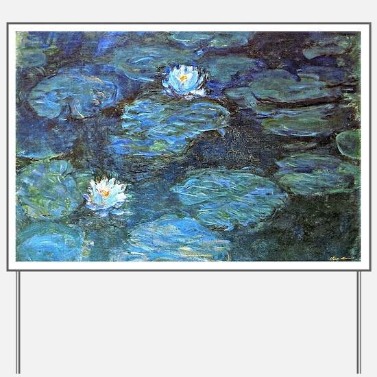 Claude Monet's Water Lilies - Blue Yard Sign