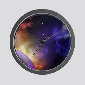 Universe with Planet and Stars Wall Clock