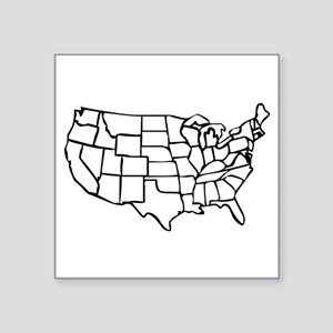 "US Map Square Sticker 3"" x 3"""