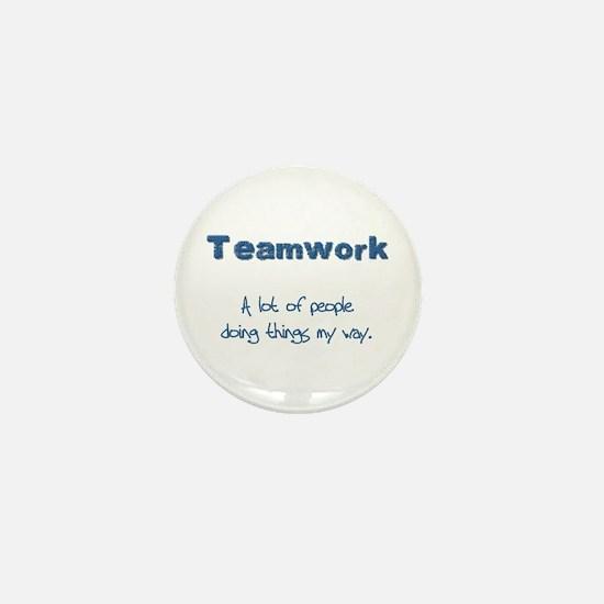 Teamwork - Blue Mini Button (10 pack)
