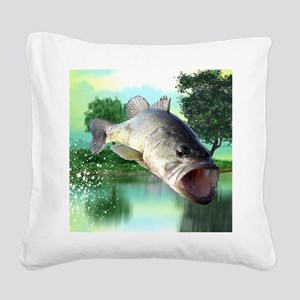 Green Bass Square Canvas Pillow