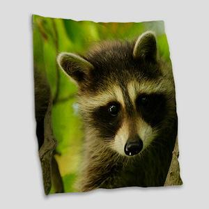 raccoon Burlap Throw Pillow