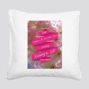 Audrey Hepburn: I Believe Square Canvas Pillow
