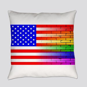 Gay Rainbow Wall American Flag Everyday Pillow