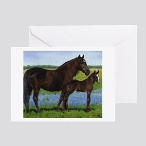 Percheron Mare And Foal Draft Horse Greeting Cards