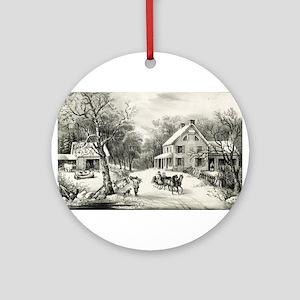 American homestead winter - 1868 Round Ornament