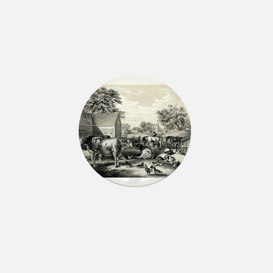American farm yard - evening - 1857 Mini Button