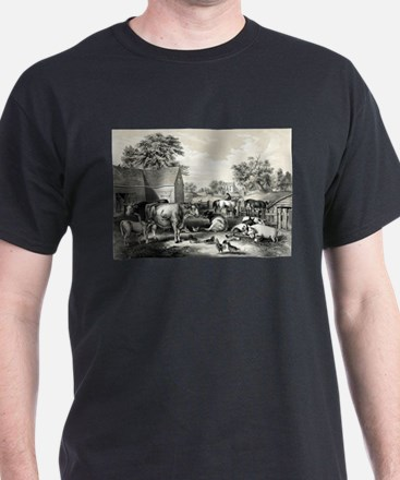 American farm yard - evening - 1857 T-Shirt