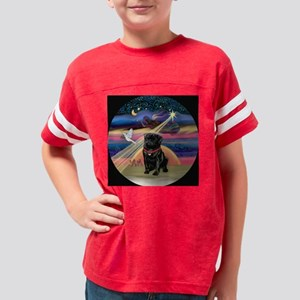 ORN-Rnd-XmsStar-Pug-Blk Youth Football Shirt