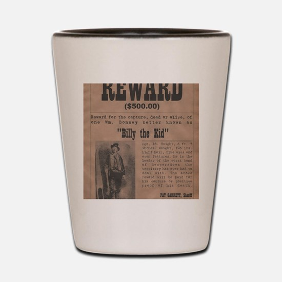 Billy the Kid Wanted Poster by McMinnie Shot Glass