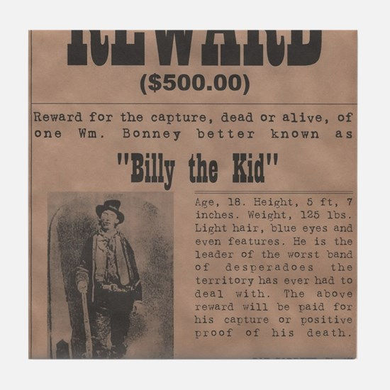 Billy the Kid Wanted Poster by McMinn Tile Coaster