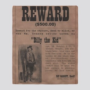 Billy the Kid Wanted Poster by McMin Throw Blanket