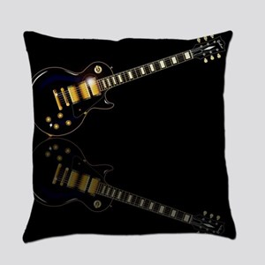 Black Beauty Electric Guitar Everyday Pillow