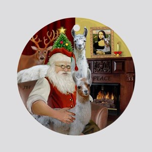 Santa with his Mama Llama Baby Ornament (Round)