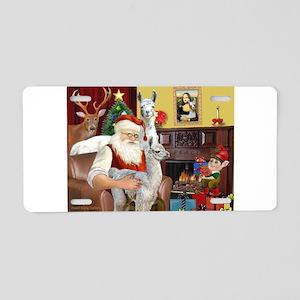 Santa with his Mama Llama Baby Aluminum License Pl