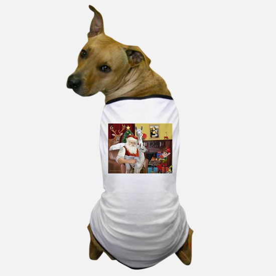 Santa with his Mama Llama Baby Dog T-Shirt