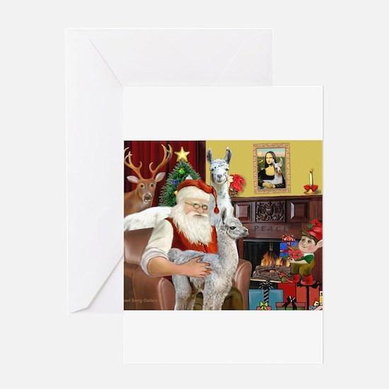 Santa with his Mama Llama Baby Greeting Cards
