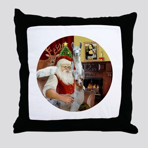 Santa with his Mama Llama Baby Throw Pillow