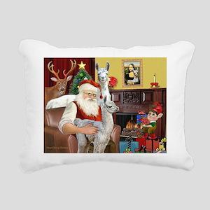 Santa with his Mama Llama Baby Rectangular Canvas