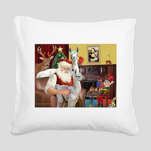 Santa with his Mama Llama Baby Square Canvas Pillo