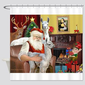 Santa with his Mama Llama Baby Shower Curtain