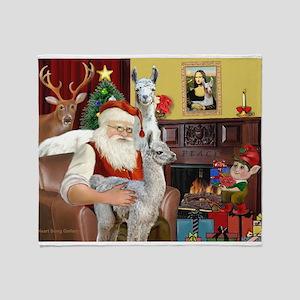 Santa with his Mama Llama Baby Throw Blanket
