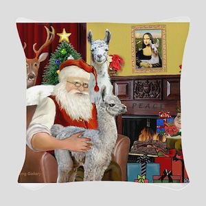 Santa with his Mama Llama Baby Woven Throw Pillow