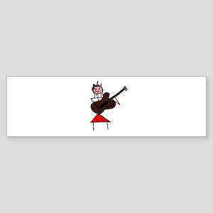female guitar stick figure brown w pink face red B