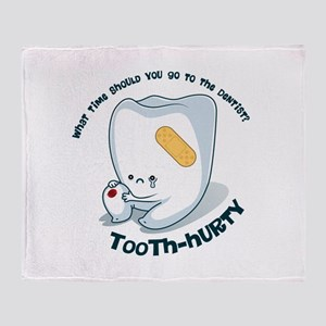 Tooth-Hurty - Dark Text Throw Blanket