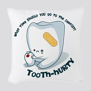Tooth-Hurty - Dark Text Woven Throw Pillow