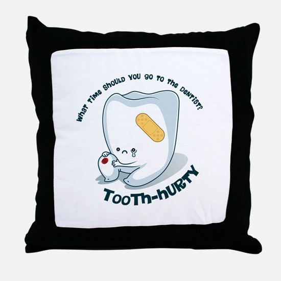 Tooth-Hurty - Dark Text Throw Pillow