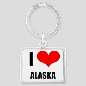 I Love Alaska Landscape Keychain