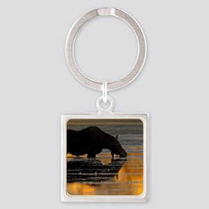 Moose & Fall Reflections Square Keychain