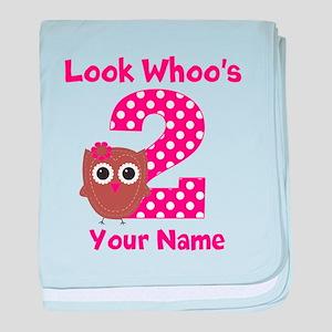 2nd Birthday Owl baby blanket