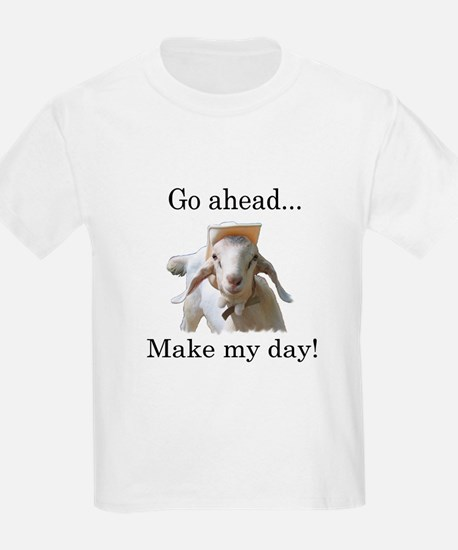 The goat says, Make my day Kids T-Shirt