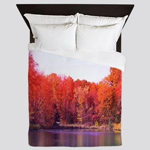 Autumn Pond with Rich Red Trees Queen Duvet