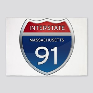 Massachusetts Interstate 91 5'x7'Area Rug