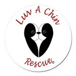 Luv A Chin Logo Round Car Magnet
