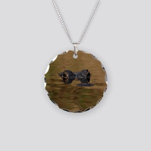 Alligator Reflections Necklace Circle Charm