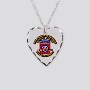Army - DS - 82nd ABN DIV w SVC Necklace Heart Char