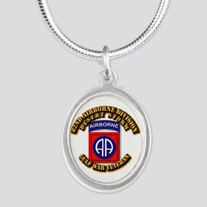 Army - DS - 82nd ABN DIV - DS Silver Oval Necklace