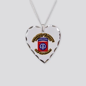 Army - DS - 82nd ABN DIV - DS Necklace Heart Charm