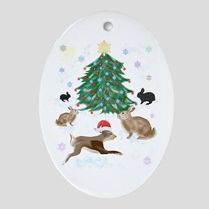 Santa Bunny Oval Ornament
