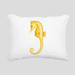 Yellow Seahorse Rectangular Canvas Pillow